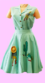 Vintage Southwestern Themed Aqua Dress at Playclothes Vintage Fashions
